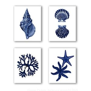 Navy Blue Beach Wall Art Decor Set Of 4 Unframed Prints Coastal Home Decor 0 300x300