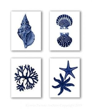 Navy Blue Beach Wall Art Decor Set Of 4 Unframed Prints Coastal Home Decor 0 300x360