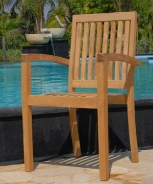 New 9pc Grade A Teak Outdoor Dining Set One Double Extension Table 8 Java Arm Chairs Umbrella 0 0 300x360