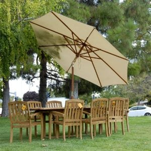 New 9pc Grade A Teak Outdoor Dining Set One Double Extension Table 8 Java Arm Chairs Umbrella 0 1 300x300