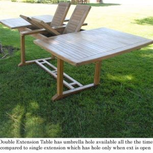 New 9pc Grade A Teak Outdoor Dining Set One Double Extension Table 8 Java Arm Chairs Umbrella 0 5 300x300