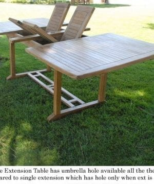 New 9pc Grade A Teak Outdoor Dining Set One Double Extension Table 8 Java Arm Chairs Umbrella 0 5 300x360