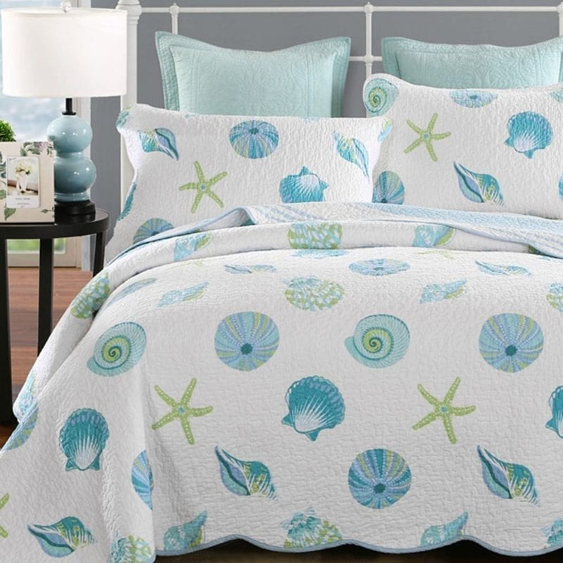 Newrara-Seashell-Beach-Bedding-Queen-Beach-Theme-Quilt-Set-Beach-Bedspread-800x800 Coastal Bedding Sets and Beach Bedding Sets