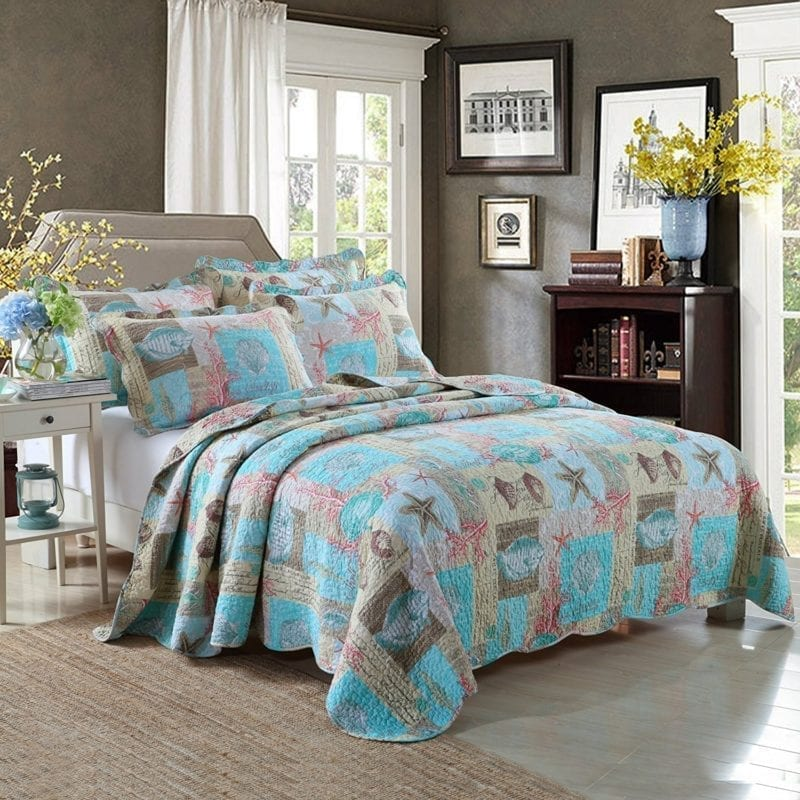 Newrara-Seashell-Beach-Bedding-Queen-Beach-Theme-Quilt-Set-Beach-Bedspread-Patchwork-quilt-800x800 Coastal Bedding Sets & Beach Bedding Sets