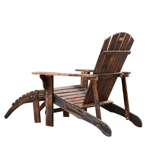 Outsunny Wooden Adirondack Outdoor Patio Lounge Chair W Ottoman Rustic Brown 0 1