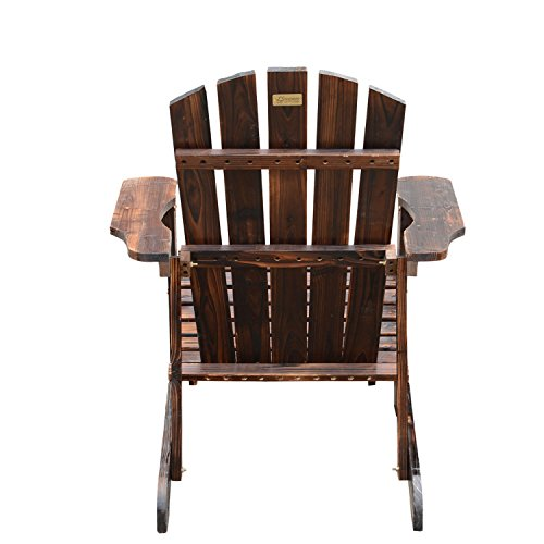 Outsunny Wooden Adirondack Outdoor Patio Lounge Chair W Ottoman Rustic Brown 0 2