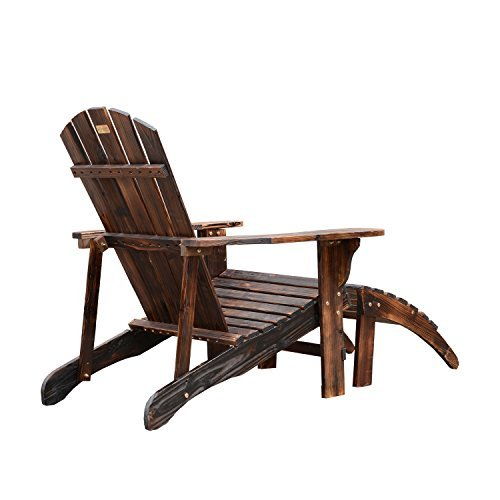 Outsunny Wooden Adirondack Outdoor Patio Lounge Chair W Ottoman Rustic Brown 0 3