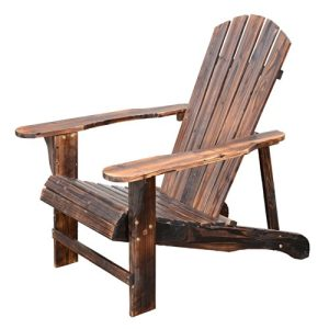 Outsunny Wooden Adirondack Outdoor Patio Lounge Chair W Ottoman Rustic Brown 0 6 300x300