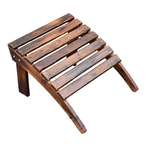 Outsunny Wooden Adirondack Outdoor Patio Lounge Chair W Ottoman Rustic Brown 0 7