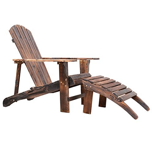Outsunny Wooden Adirondack Outdoor Patio Lounge Chair W Ottoman Rustic Brown 0