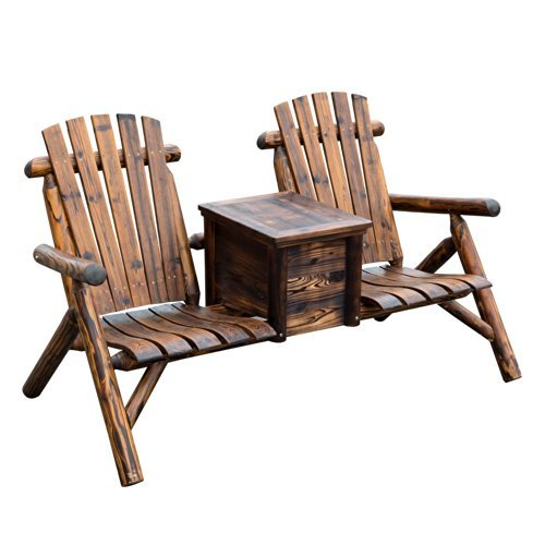 Outsunny Rustic Wooden Two Seat Adirondack Patio Chair