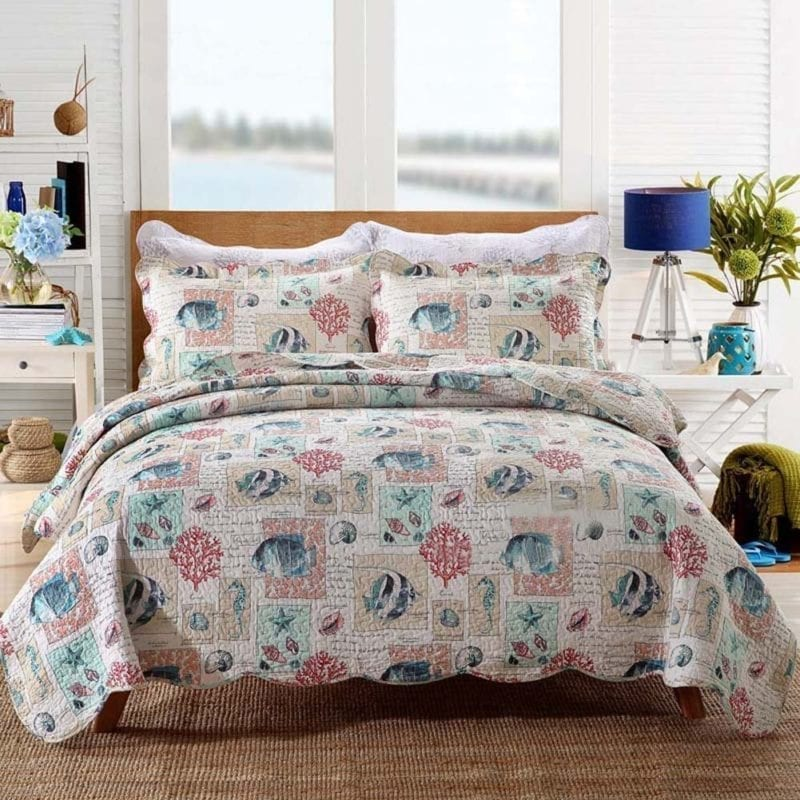 Queen-Full-Beach-Theme-3-Piece-Cotton-Bed-Quilt-Set-With-Seashell-Pattern-Lightweight-Quilts-and-Comforter-Bedding-Sets-by-mixinni-800x800 Coastal Bedding Sets and Beach Bedding Sets