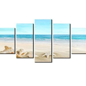 SZ HD Painting Canvas Prints For Home Decoration Framed Stretched 5 Panels Starfish Shell Blue Sea Picture Print On Canvas Modern Home Decor Wall Art 0 300x300