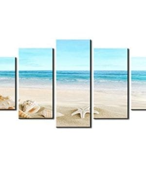 SZ HD Painting Canvas Prints For Home Decoration Framed Stretched 5 Panels Starfish Shell Blue Sea Picture Print On Canvas Modern Home Decor Wall Art 0 300x360