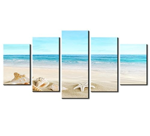 SZ HD Painting Canvas Prints For Home Decoration Framed Stretched 5 Panels Starfish Shell Blue Sea Picture Print On Canvas Modern Home Decor Wall Art 0
