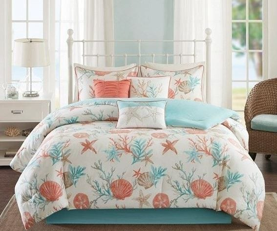 Sateen-Printed-Coral-7-Piece-Comforter-Set Coastal Bedding Sets and Beach Bedding Sets