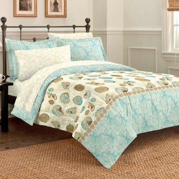 Sea-Breeze-Seashell-Full-Comforter-Set Coastal Bedding Sets and Beach Bedding Sets