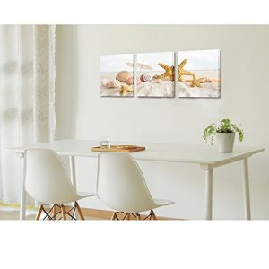 Seascape Canvas Wall ArtShells Starfish On The Beach Modern Canvas Wall Art For Home DecorFramed And StretchedEasy To Hang 0 0 300x300