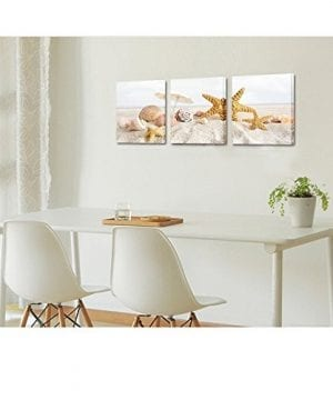Seascape Canvas Wall ArtShells Starfish On The Beach Modern Canvas Wall Art For Home DecorFramed And StretchedEasy To Hang 0 0 300x360