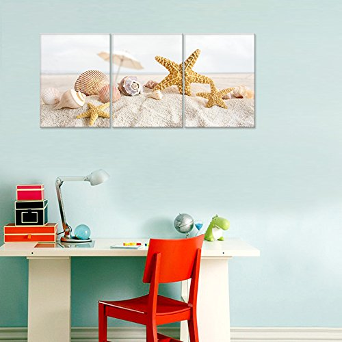 Seascape Canvas Wall ArtShells Starfish On The Beach Modern Canvas Wall Art For Home DecorFramed And StretchedEasy To Hang 0 1