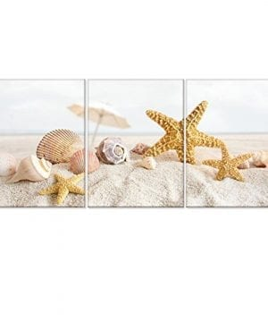 Seascape Canvas Wall ArtShells Starfish On The Beach Modern Canvas Wall Art For Home DecorFramed And StretchedEasy To Hang 0 300x360