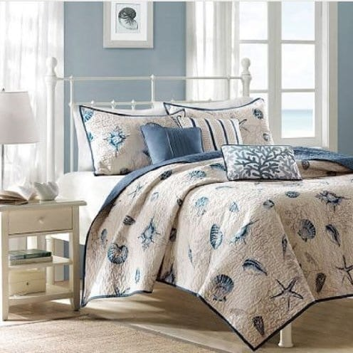 Seashell-Beach-House-Nautical-Full-Quilt Coastal Bedding Sets and Beach Bedding Sets