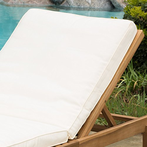 Set Of 2 Paolo Outdoor Teak Brown Wood Chaise Lounge With Cushion 0 0