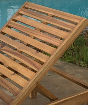 Set Of 2 Paolo Outdoor Teak Brown Wood Chaise Lounge With Cushion 0 1 300x360