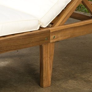 Set Of 2 Paolo Outdoor Teak Brown Wood Chaise Lounge With Cushion 0 3 300x300