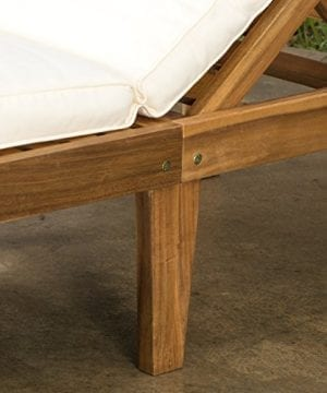 Set Of 2 Paolo Outdoor Teak Brown Wood Chaise Lounge With Cushion 0 3 300x360