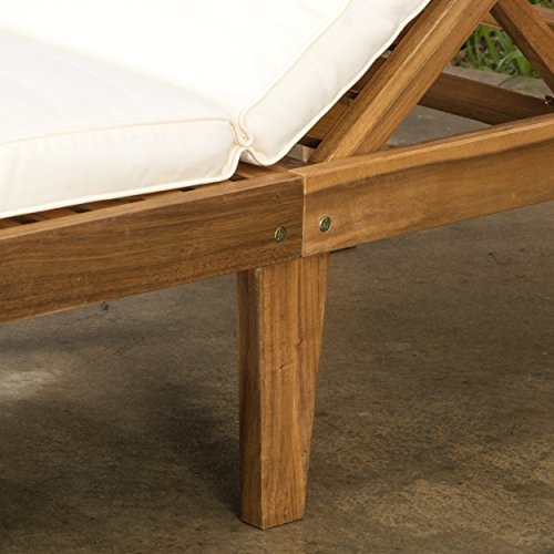 Set Of 2 Paolo Outdoor Teak Brown Wood Chaise Lounge With Cushion 0 3
