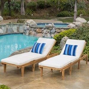 Set Of 2 Paolo Outdoor Teak Brown Wood Chaise Lounge With Cushion 0 300x300