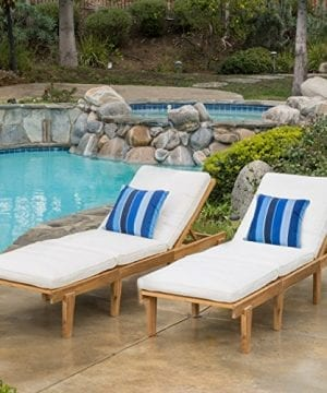 Set Of 2 Paolo Outdoor Teak Brown Wood Chaise Lounge With Cushion 0 300x360