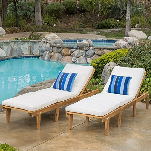 Set Of 2 Paolo Outdoor Teak Brown Wood Chaise Lounge With Cushion 0