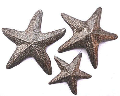 Starfish Set Of 3 Nautical Home Decor Recycled Wall Art 6 X 6 And 45 X 45 0