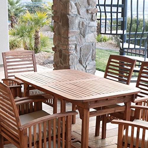 WE Furniture 6 Piece Acacia Wood Dining Set With Cushions 0 0