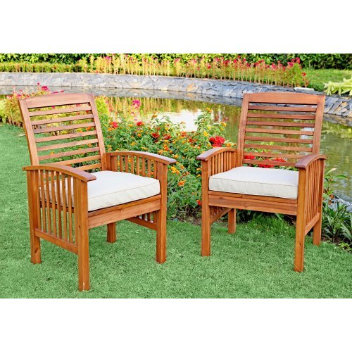 WE Furniture 6 Piece Acacia Wood Dining Set With Cushions 0 2