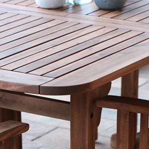 WE Furniture 6 Piece Acacia Wood Dining Set With Cushions 0 5 300x300