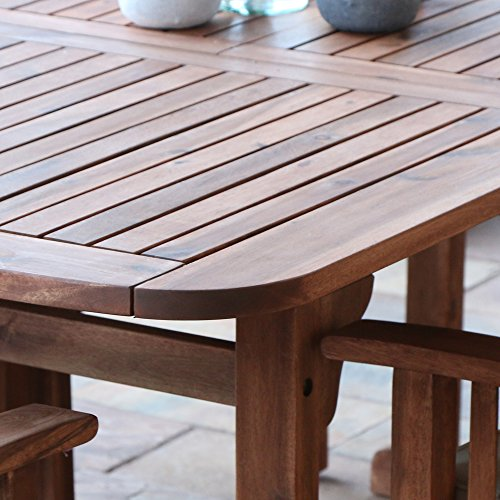WE Furniture 6 Piece Acacia Wood Dining Set With Cushions 0 5