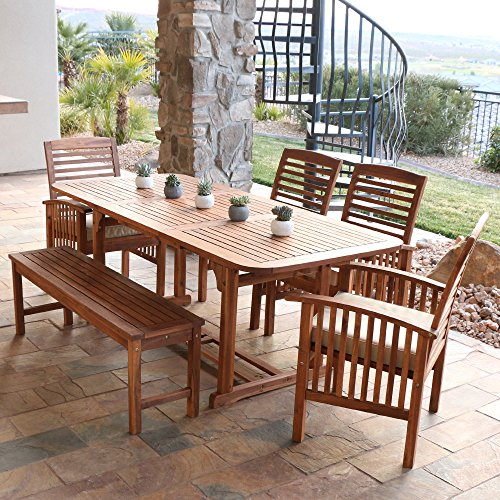 WE Furniture 6 Piece Acacia Wood Dining Set With Cushions 0