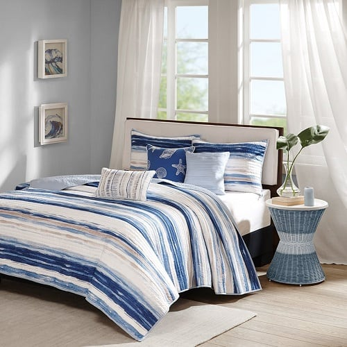 blue-striped-madison-park-quilted-coverlet-set Coastal Bedding Sets and Beach Bedding Sets