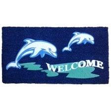 dolphin-welcome-beach-doormat Beach Doormats and Coastal Doormats