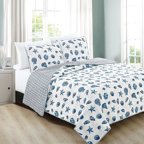 home-fashion-designs-coastal-theme-quilt Coastal Bedding Sets and Beach Bedding Sets
