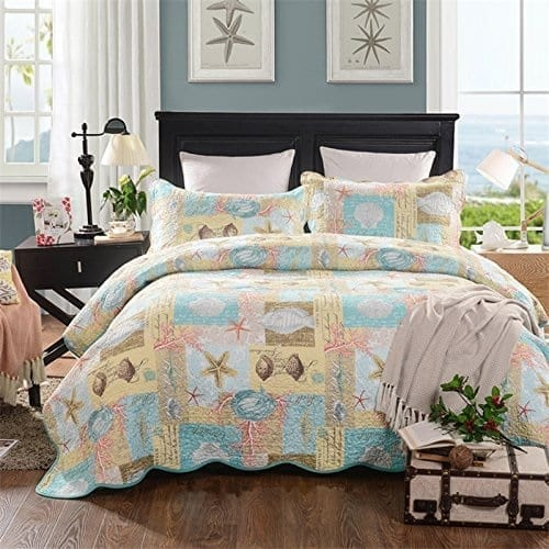 mixinni-Twin-Size-Quilt-Set-Beach-For-Teen-Boy-2-Pcs-Quilt-Bedspread-Set-Kids Coastal Bedding Sets and Beach Bedding Sets