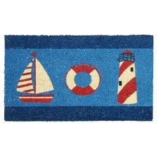 nautical-theme-doormat-buoy-lighthouse Beach Doormats and Coastal Doormats