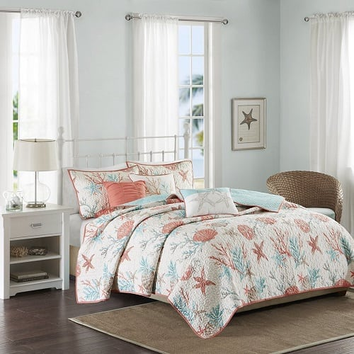 starfish-and-coral-themed-quilt-set Coastal Bedding Sets & Beach Bedding Sets
