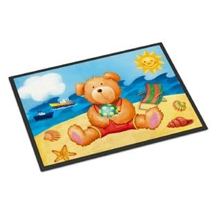 teddy-bear-on-the-beach-doormat Beach Doormats and Coastal Doormats