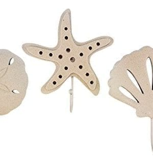 3 Wood Sand Finish Wall Hooks 1 Scallop Shell 1 Starfish And 1 Sand Dollar 0 300x323