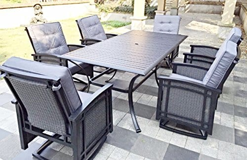 7pc Rocking Aluminum Wicker Patio Dining Furniture Set Beachfront