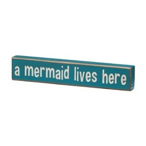 A Mermaid Lives Here Vintage Coastal Mini Wood Sign 8 In 0 300x300
